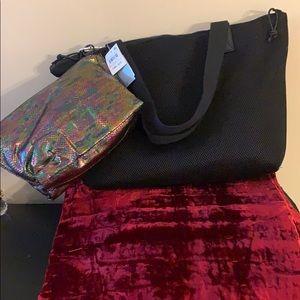 Ideology women's black mesh tote with makeup bag